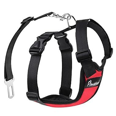 PAWABOO Dog Safety Vest Harness, Pet Dog Adjustable Car Safety Mesh Harness Travel Strap Vest with Car Seat Belt Lead Clip, Extra Large Size, RED