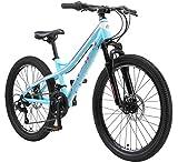 BIKESTAR MTB Mountain Bike Alluminio per Bambini 10-13 Anni | Bicicletta 24 Pollici 21 velocità Shimano, Hardtail, Freni a Disco, sospensioni | Turchese e Bianco