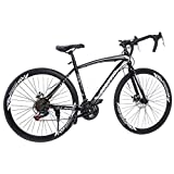 Begasso Shimanos Aluminum Full Suspension Road Bike 21 Speed Disc Brakes, 700c Bending Handle Bicycle Gift for Adult/Teens [ Fast Delivery ]