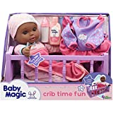 """Little Darlings Baby Magic Crib Time Fun, African America (6697), 12"""" Soft Body Baby Doll, 6 Different Baby Sounds, Molded Crib, Accessories and Bonus Outfit. Age 2+"""