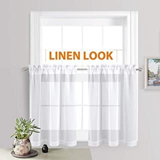 RYB HOME Linen Curtains Sheer White Valance Set for Bathroom, Rod Pocket Voile Textured Window Tiers for Baby Nursery Bedroom Kitchen Cabinet Cafe, Wide 55 x Long 36 inch, 2 Panels