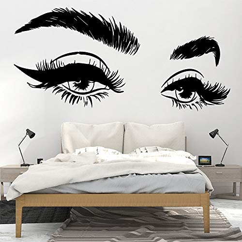 XCSJX Hermosas pestañas Ojo Vinilo Etiqueta de la Pared decoración de la Pared salón de Belleza Art Deco Etiqueta de la Pared Papel Tapiz Papel Tapiz Adhesivo Mural 44x97 cm