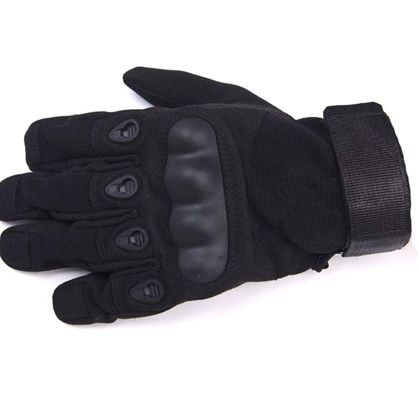 ZZKJTANGYM Motorbike Gloves, Motorcycle Riding Gloves, Special Forces Tactics Full Finger Gloves Men, Fighting Sports Riding Non-Slip Wear Training, Breathable Sweat,Black-XL