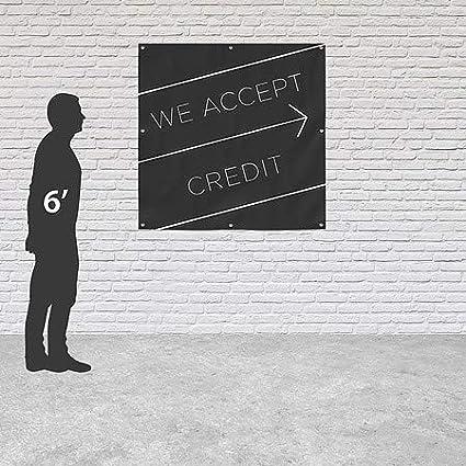 We Accept Credit Basic Black Heavy-Duty Outdoor Vinyl Banner 6x6 CGSignLab