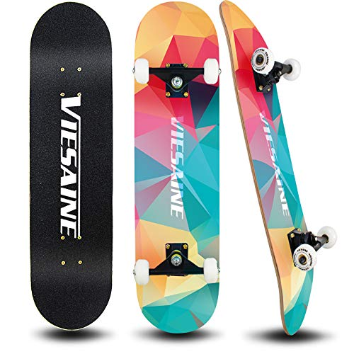 PHOEROS Skateboards 31 Inch 7 Layer Canadian Maple Girl Skateboards for Boys Kids Teens Adults and Beginners Pro Skateboards