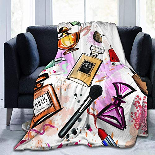 Super Soft Throw Blanket,Girly Watercolor Cosmetics Perfumes Lipstick Nail Polish Brush,Warm Anti-Pilling Flannel Blankets for Couch Sofa Bedroom 50'x40'