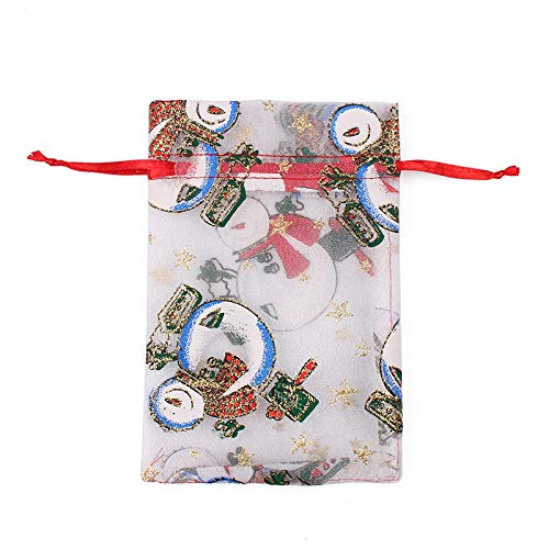 50 Uds., Bolsa de regalo de organza con cordón de Navidad, bolsas de regalo de chocolate con concha de caramelo para boda-08_10X15