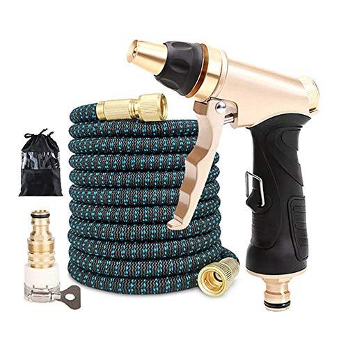 Mangueras de jardín 25FT-100FT Juego Manguera de riego mágica expandible/Mangueras de Lavado a Alta presión con Pistola rociadora de Metal (Color : Green, Lengh : 100ft 30m)