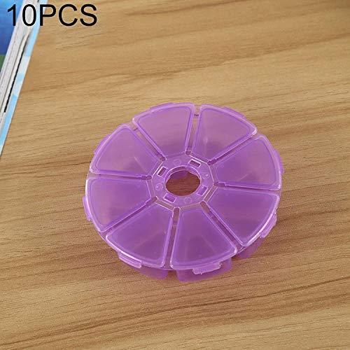 QICHENGBIN Mini Coffret à Bijoux Round 8 Machines à sous boîte en Plastique Organisateur de Stockage de conteneurs, for Bijoux en Cristal Pendentif Accessoires 10 PCS (Color : Purple)