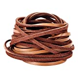 3mm Flat Genuine Leather Cord, Strip Cord Braiding String Tan for Jewelry Making, Leather Shoe Lace, Arts & Crafts and Handicraft Purse (5 Yards)