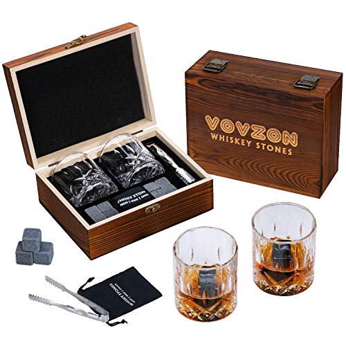 Whiskey Stones and Glasses Gift Set for Men – 8 Whisky Scotch Bourbon Chilling Stones, 2 Whiskey Glasses in Wooden Box – Father's Day/Christmas/Birthday Gift/Present for Father Dad Boyfriend