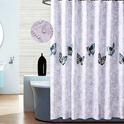 Rechoo tenda da doccia in poliestere impermeabile a prova di muffa doccia tenda con 12 ganci, 180 x 200 cm