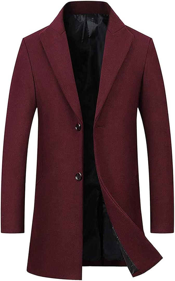 Men Wool Jackets Business Stylish Slim Fits Coats Turn Colalr Outerwear Comfort Woollen Wind