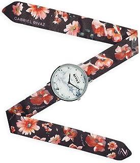 Montre Bracelet Foulard signée Gabriel Rivaz - Bracelet en Soie - Montre Fond marbré - Mécanisme Japonais - Été Indien
