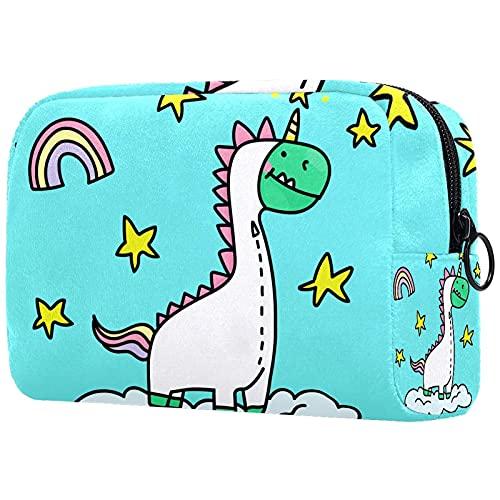 Unicorn Dinasour - Bolsa de maquillaje para bolso de viaje, organizador de cosméticos, portátil, versátil, con cremallera, para mujeres y niñas