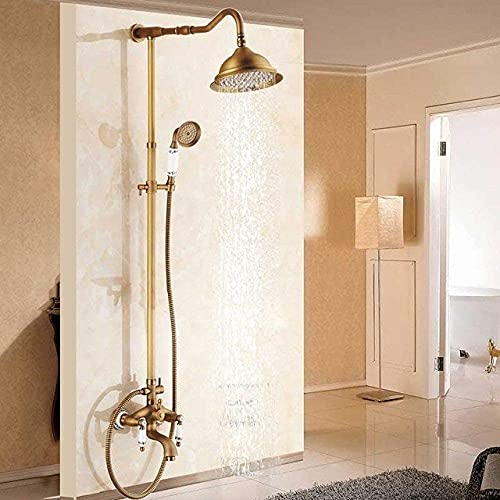 Sistema de ducha recién montado en la pared Juego de grifos de ducha de lluvia para exteriores con 8 manijas dobles de latón antiguo Caño giratorio para bañera Ducha de baño (ducha para el hogar)