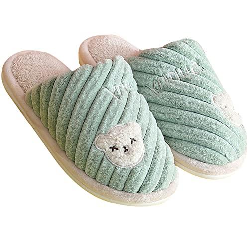 gaoxiao Zapatillas de Estar por Casa de Mujer Hombres Suave Caliente Forro Peludas Pantuflas Ligero Antideslizantes para Interior Invierno Algodón Zapatilla (Size:40-41,Color:Verde)