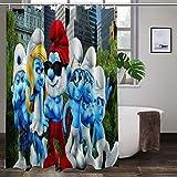Large Puzzle The Smurfs - Cortina de ducha (poliéster, 167,6 x 183 cm), multicolor
