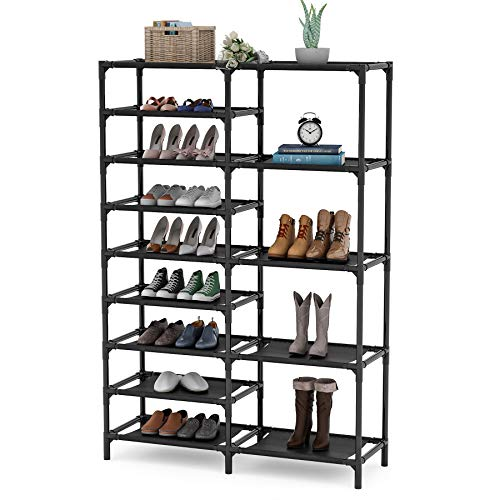 Tribesigns 9 Tiers Shoe Rack Stackable Shoe Tower Shoe Shelf Holds 28 Pairs Non-Woven Fabric Shoe Storage Organizer Durable Boot Organizer
