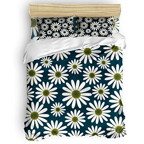 Duvet Cover Set 4 Pieces,Super Soft Bedding Down Comforter Cover with Zipper Closure, Machine Washable Breathable Microfiber Polyester Duvet Cover,Daisy Flowers Twin