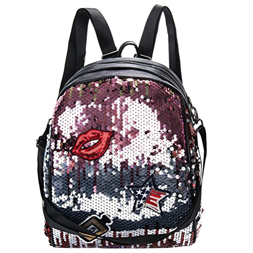 OULII Sacchetto scolastico della scuola del sacchetto del sacchetto di spalla del labbro di Bling dei sacchetti di giorno del Glitter Daypack per le ragazze delle donne (dentellare)