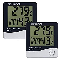 Aly 2 X Thermometer with Hygrometer, LCD Display (2 piece)