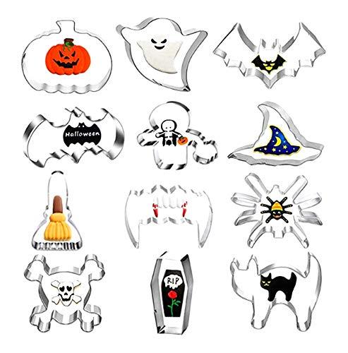Molde para galletas de Halloween, molde para galletas de acero inoxidable, que incluye bruja, fantasma, calabaza, utilizado para herramientas para hornear, adecuado para cocina, escuela, fiesta