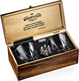 Whiskey Stones Gift Set for Men | Whiskey Glass and Stone Set with Wooden Box, 6 Stainless Steel Whiskey Bullet Chillers and 10oz Whiskey Glasses | Whiskey Lovers Gift For Men, Dad, Husband, Boyfriend