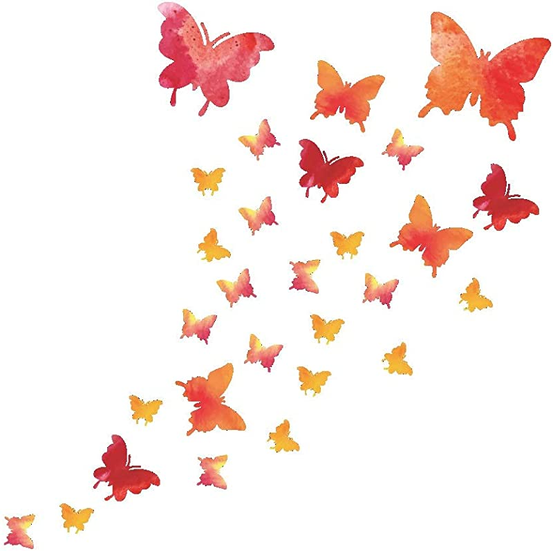 Amaonm 28 PCS Removable Pink Butterfly Wall Stickers Murals 3D DIY Cartoon Butterflies Wall Decals Wall Decor Peel And Stick Art For Home Walls Girls Bedroom Bathroom Kids Babys Nursery Living Room