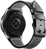 Aimtel Armband Kompatibel mit Galaxy Watch 46mm Armband/Gear S3 Classic/Gear S3 Frontier Armband, 22mm Lederarmband Ersatzband für Galaxy Watch 46mm & Gear S3 Classic & Gear S3 Frontier(Schwarz)