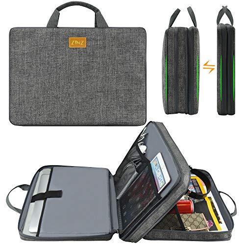 ZINZ Slim & Expandable Laptop Sleeve 15 15.6 16 Inch Case Bag for Popular 15'-16' Notebooks Water-Resistant Handbag Multipurpose Computer Accessories Storage Bag - Linen Grey