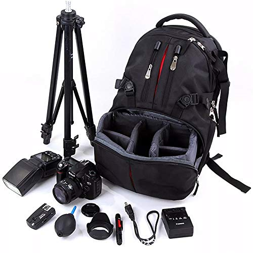 Quskto Camera Rugzak, Nylon Waterdichte Schokbestendige Camera 17 inch Laptop Tas Lens Case Rugzak Voor Nikon SLR DSLR Camera Zwart Ultra-lichtgewicht en Compact