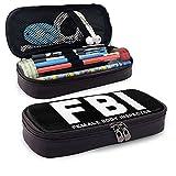 Estuche multifunción para lápices de piel FBI, bolsa de papelería, kit de almacenamiento portátil, soporte de caja de cosméticos