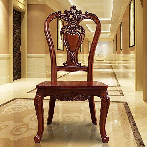 Life decoration Cocina Muebles de comedor Silla de estilo europeo Silla de comedor de madera antigua Silla de comedor Hueco de doble cara Fácil de montar Juego de 2 (Color: Marrón Tamaño: 106x52x50
