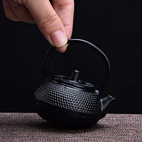 Tetera De Hierro Fundido Tetera de hierro fundido de arena morada 0.6L Tetera de hierro fundido Kung Fu Tetera Tetera de viaje Tetera con filtro Infusor Hervidor de agua Ollas Caldera