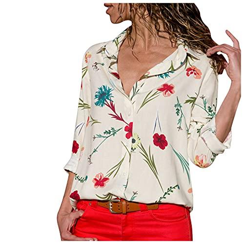Elegantes Camisetas Manga Larga Mujer de Solapa con Estampadas de Flores Camisas Mujer con Botones Suelto y...