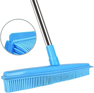 Push Broom Rubber Bristles Sweeper Squeegee Edge 51 inches Adjustable Long Handle Non Scratch Bristle, Indoor Outdoor Broom for Pet Cat Dog Hair Carpet Hardwood Tile Windows Clean Cleaning (Blue)