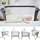 Cosy Cuddler Next2you Bedside Baby Coo Sleeping Crib (Solid Wood) (Grey)