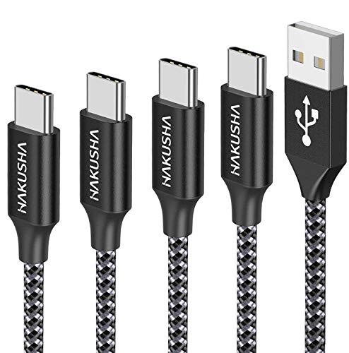 Hakusha - Cable USB tipo C, 4 unidades, 0,5 m, 2 m, 3 m, 3 A, USB tipo C, de nailon trenzado, cargador USB C, conector para Samsung Galaxy S10/S9/S8/Note 10 9, Huawei P30/P20/P10 Mate30