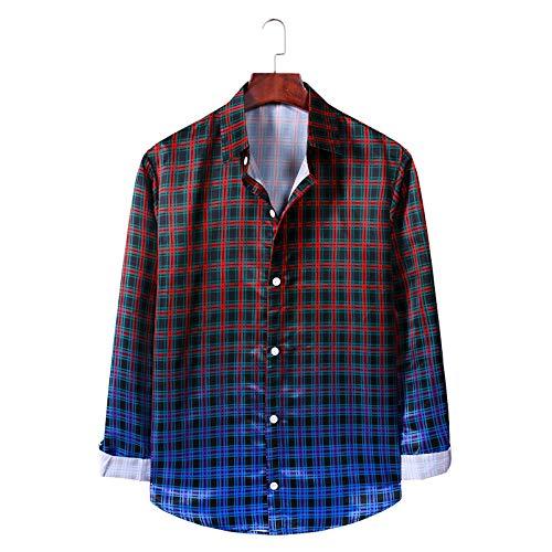 Camisa Estampada a Cuadros para Hombre Camisa de Manga Larga de Ajuste Relajado con Personalidad de Color Degradado Camisa clásica de Moda de un Solo Pecho XX-Large