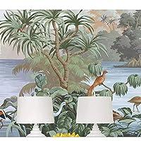 xueshao カスタム壁紙3D写真壁画手描きのヨーロッパスタイルの絵画オリジナルのジャングルの花と鳥の3D壁紙-200X140Cm