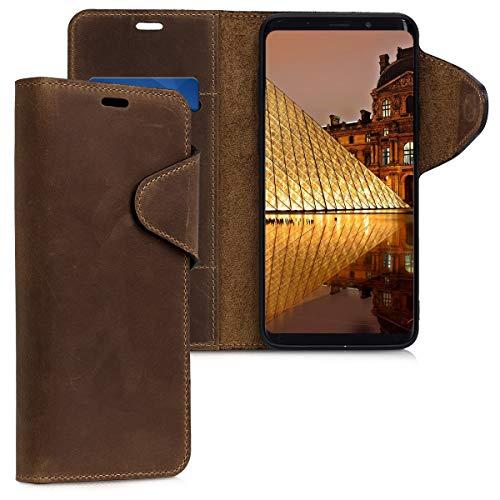 kalibri Samsung Galaxy S9 Plus Hülle - Leder Handyhülle für Samsung Galaxy S9 Plus - Braun - Handy Wallet Case Cover