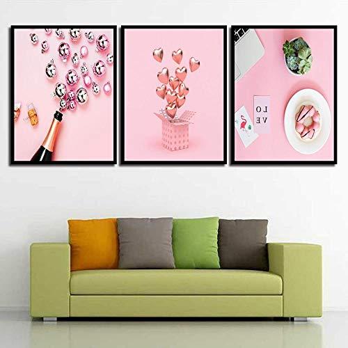 NLZNKZJ Pink schattige poster print pot wijn flamingo en hartvormig dessert canvas schilderwerk, woonkamer slaapkamer muurkunst decor afbeelding 50x70cmx3 geen lijst