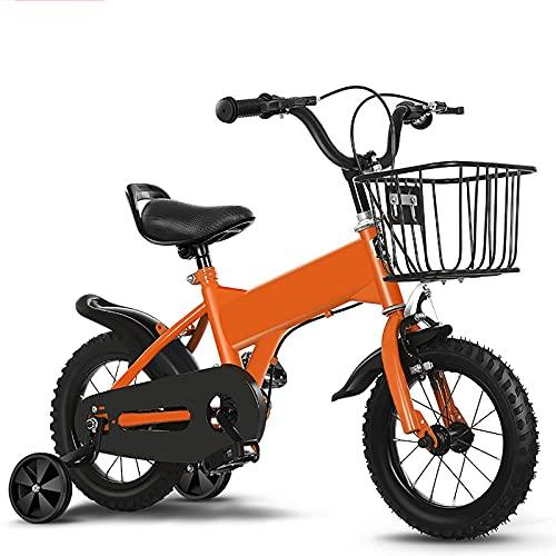 CKCL Bicicleta para Niños De 2 a 9 Años Niños Niñas Bicicleta De Estilo Libre 12 14 16 18 Bicicleta De 20 Pulgadas con Ruedas De Entrenamiento Canasta Asiento Ajustable Y Manillar,Naranja,12inches