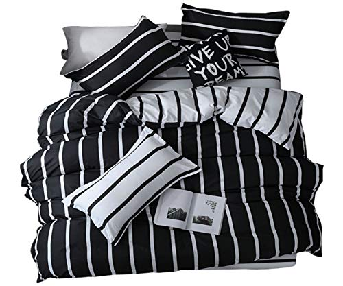 ALIDECO Fashion Bed Sheet Sets Black and White KING, 4PCS King Size Duvet Covers Set,Wrinkle Fade Resistant and Hypoallergenic Bedding Set King Size (Blue, 4PC King)