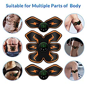 Abs Stimulator, Muscle Toner, Abs Stimulating Belt, Muscle Trainer with 10 Extra Gel Pads, Muscle Sculpting at Home, Fitness Equipment ABS Abdominal Trainer with 6 Modes & 9 Levels Operation-Black
