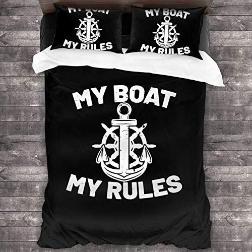 My Boat My Rules - Juego de ropa de cama de 3 piezas de 200 x 180 cm, microfibra suave, transpirable, para dormitorio, funda de almohada y funda de edredón de 2 piezas