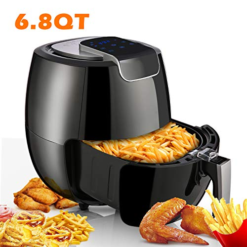 Air Fryer XL 6.8QT, 1800W Electric Hot Air Fryers Oven Oilless Cooker, LCD Digital Touchscreen, 8 Cooking Presets, Preheat & Nonstick Basket for Fast Healthier Fried Food【US Store】