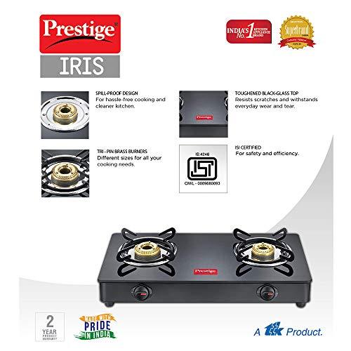 Prestige IRIS LPG Gas Stove, 2 Burner, Black, Powder coater Mild Steel with Glass Top, Manual