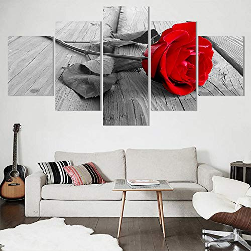 Hd Home Decoration Canvas Pictures Living Room Modern 5 Panel Red Rose Flowers Printed Painting Wall Art Modular Poster-Without Frame